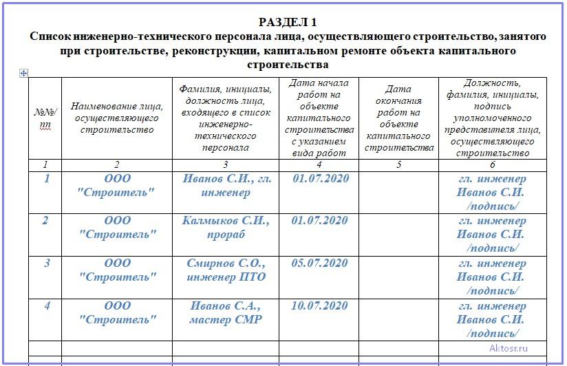 Заполнение раздела 1 общего журнала работ