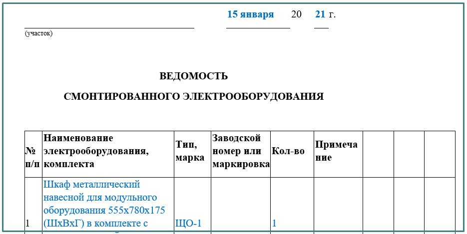 Приложение 4 к Акту технической готовности
