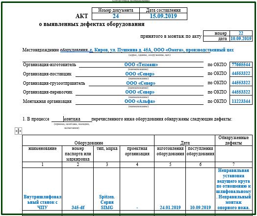 Акт о выявленных дефектах оборудования ОС 16