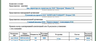 Акт проверки осветительной сети на функционирование и правильность монтажа установочных аппаратов